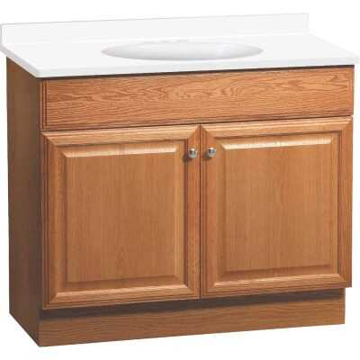 Continental Cabinets Richmond Oak 36-1/2 In. W x 35-1/4 In. H x 18-1/2 In. D Vanity with White Cultured Marble Top