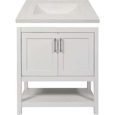 Modular Monaco White 30 In. W x 34-1/2 In. H x 21 In. D Vanity with White Cultured Marble Top