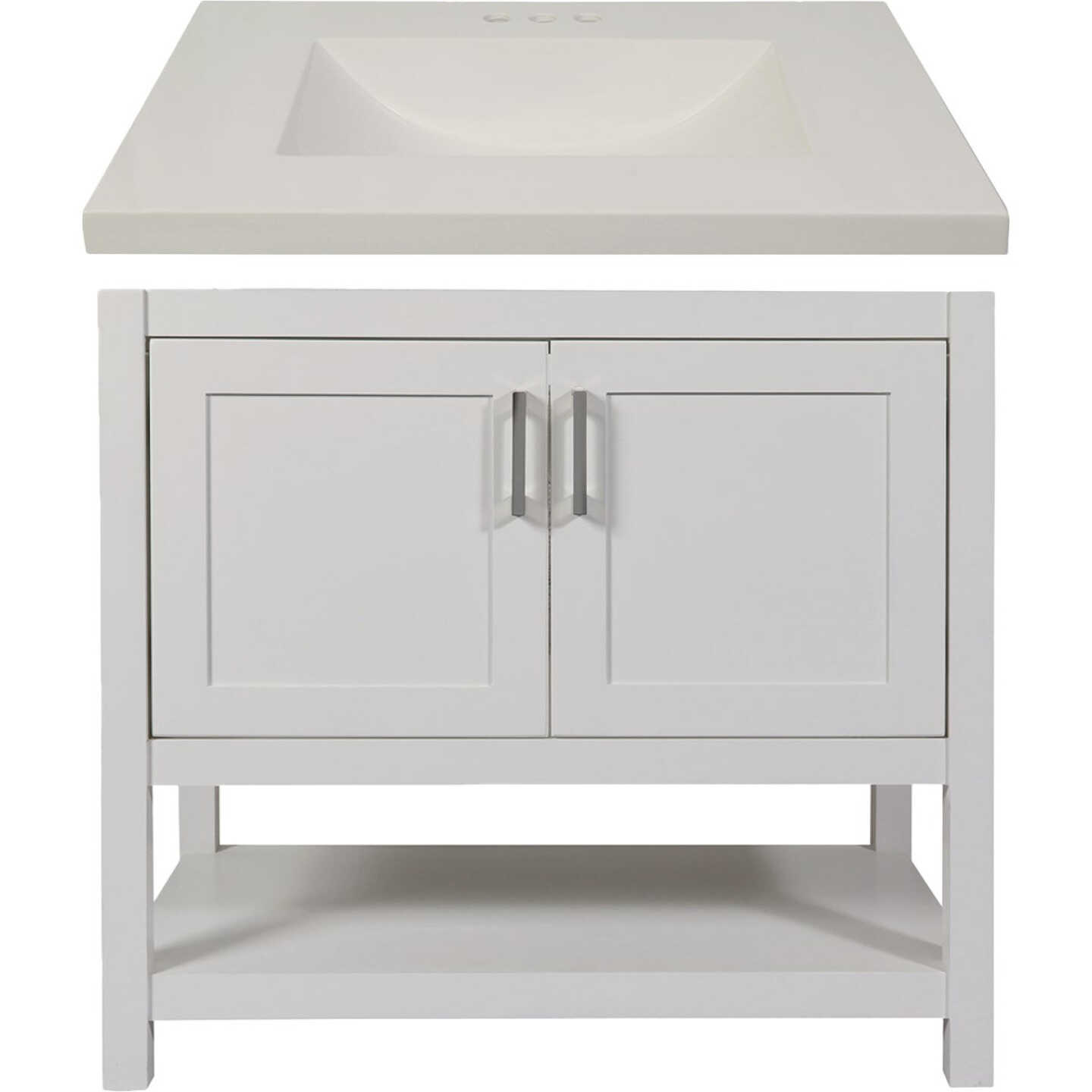 Modular Monaco White 36 In. W x 34-1/2 In. H x 21 In. D Vanity with White Cultured Marble Top Image 1