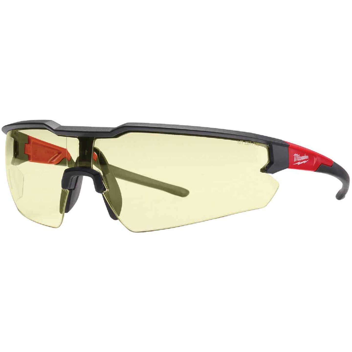Milwaukee Red & Black Frame Safety Glasses with Yellow Anti-Scratch Lenses Image 1