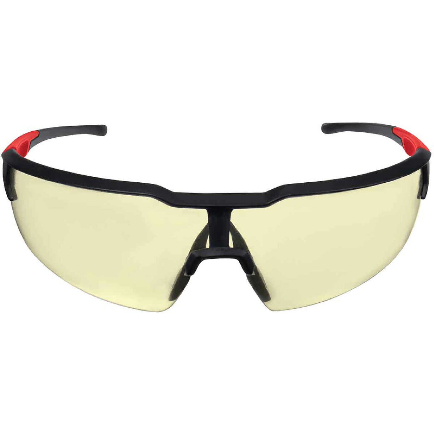Milwaukee Red & Black Frame Safety Glasses with Yellow Anti-Scratch Lenses Image 3