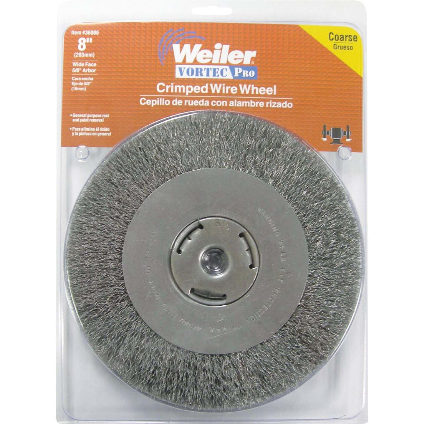 Weiler Vortec 8 In. Crimped Bench Grinder Wire Wheel Image 2