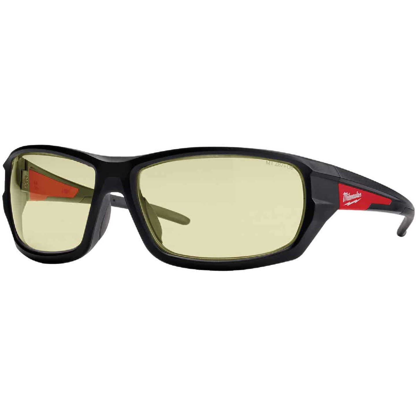 Milwaukee Performance Red & Black Frame Safety Glasses with Yellow Fog-Free Lenses Image 1