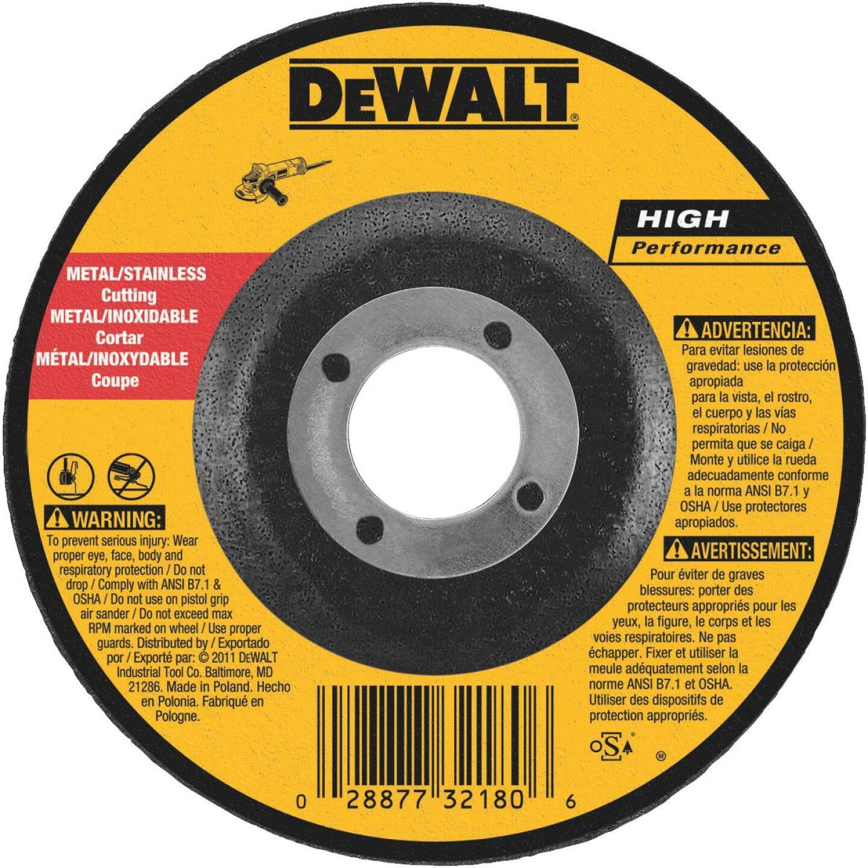DeWalt HP Type 27 4 In. x 0.045 In. x 5/8 In. Metal/Stainless Cut-Off Wheel Image 1