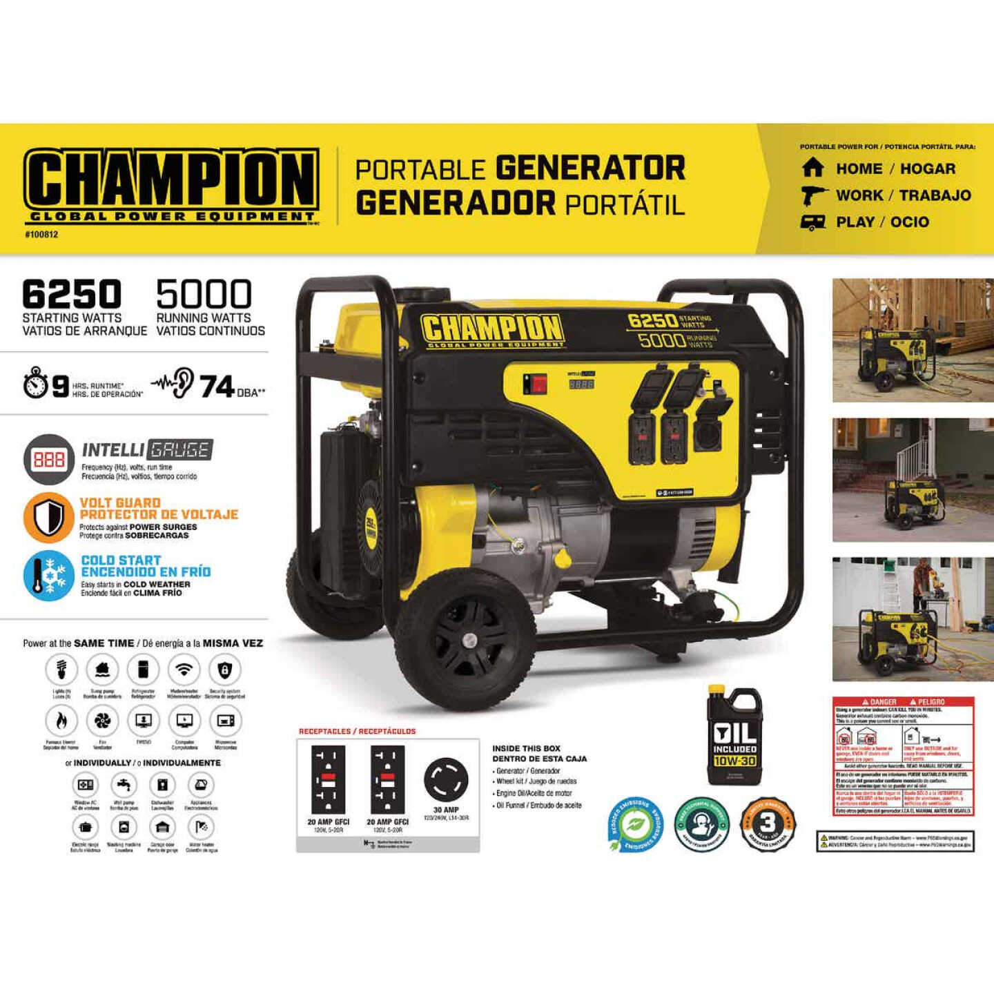 Champion 5000W Gasoline Powered Recoil Pull Start Portable Generator with Wheel Kit (California Compliant) Image 4