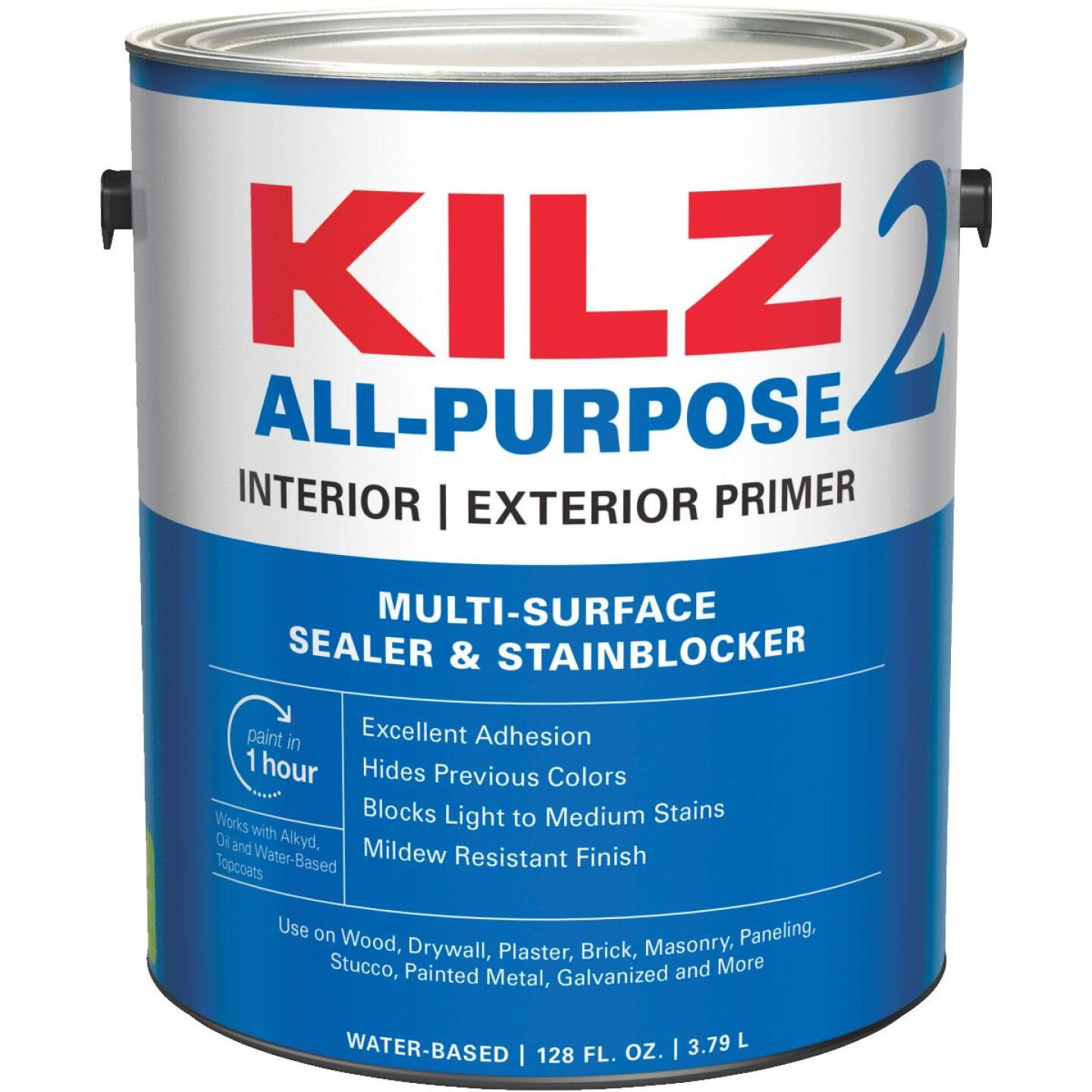 KILZ 2 Latex Interior/Exterior Sealer Stain Blocking Primer, White, 1 Gal. Image 1